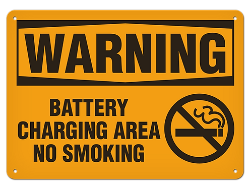 WARNING - Battery Charging Area No Smoking