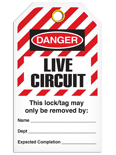 LOCKOUT TAG - Live Circuit - Hazard Stripe