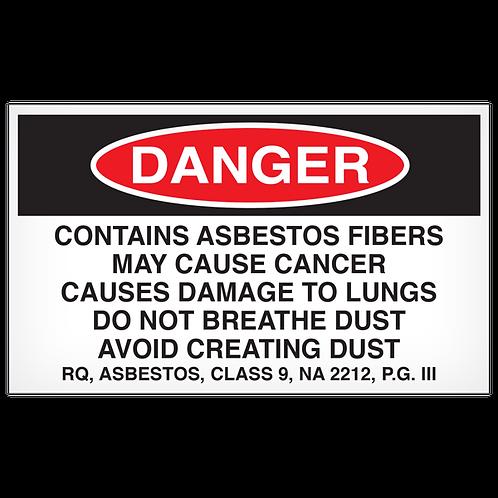 DANGER - Contains Asbestos Fibers