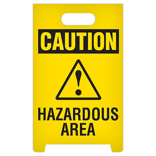 A-Frame Standing Floor Sign - CAUTION - Hazardous Area