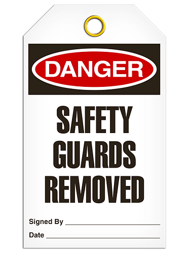 DANGER  -  Safety Guards Removed