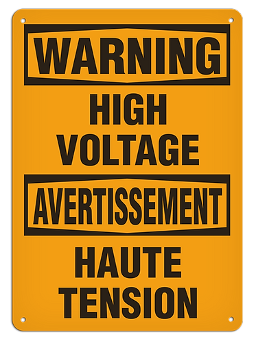 BILINGUAL WARNING - High Voltage