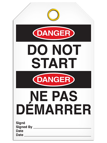 Bilingual DANGER DO NOT START