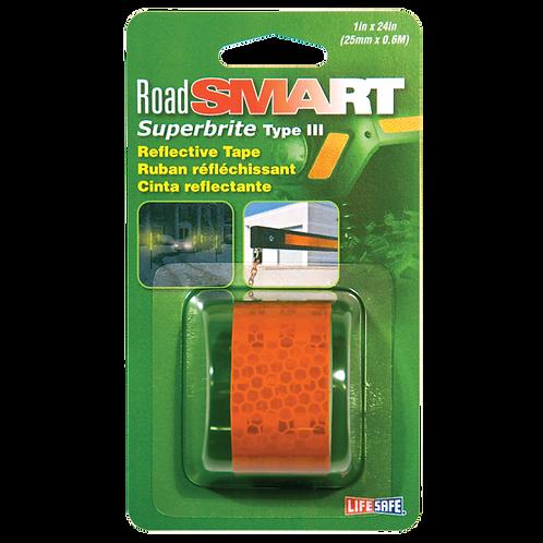 "Road Smart Fluorescent Orange Superbrite Type III Reflective Tape 1"" x 24"""