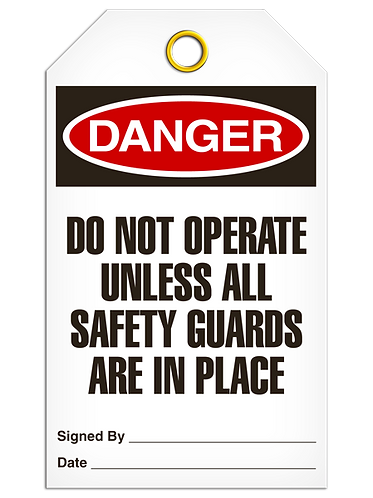 DANGER  -  Do Not Operate Unless All Safety Guards Are In Place