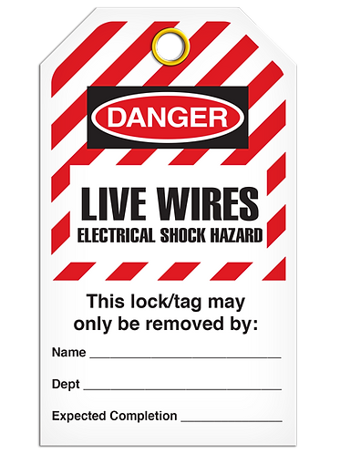 LOCKOUT TAG - Live Wires Electrical Shock Hazard - Hazard Stripe