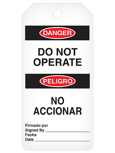 DANGER Tag Roll  -  Do Not Operate (English/Spanish)