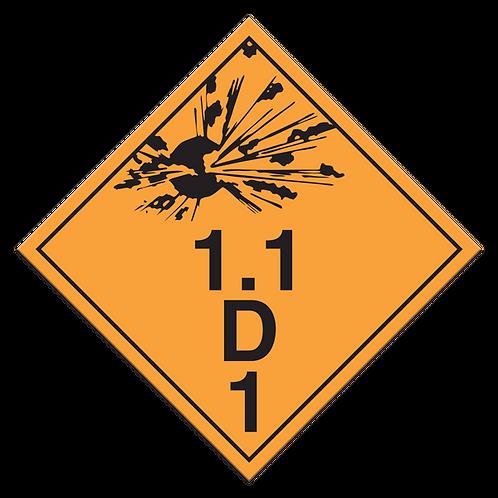 Class 1.1D - Explosives TDG Truck Placards