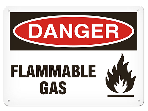 DANGER - Flammable Gas Safety Signs