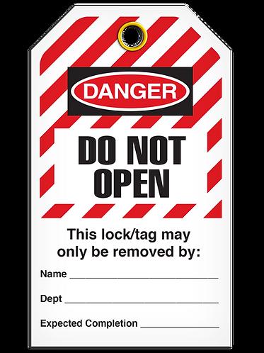 LOCKOUT TAG - Do Not Open - Hazard Stripe
