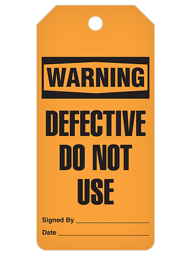 WARNING Tag Roll  -  Defective Do Not Use