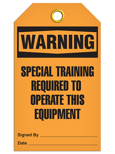 WARNING - Special Training Required To Operate This Equipment