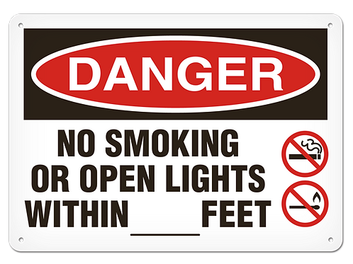 DANGER - No Smoking Or Open Lights Within ___ Feet Safety Sign