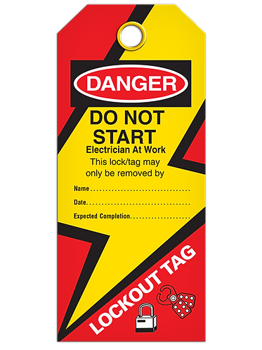 LOCKOUT TAG - Do Not Start Electricians At Work