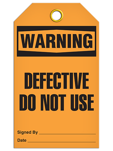WARNING - Defective Do Not Use