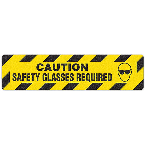 Caution - Safety Glasses Required Floor Sign