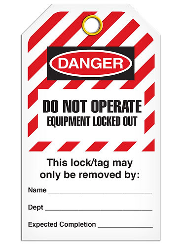 LOCKOUT TAG - Do Not Operate Equipment Locked Out - Hazard Stripe