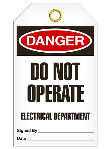 DANGER - Do Not Operate Electrical Department