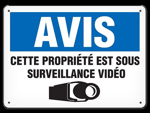 AVIS - Cette propriété est sous  surveillance vidéo Safety Sign