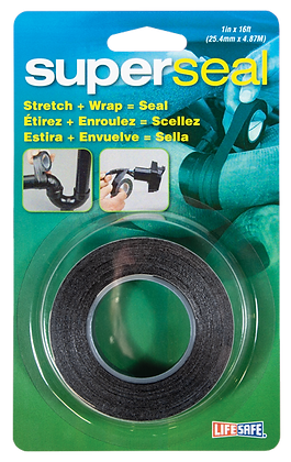 "Superseal Self Bonding Repair Tape 1"" x 16ft (Black - No Adhesive)"