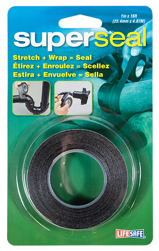 """Superseal Self Bonding Repair Tape 1"""" x 16ft (Black - No Adhesive)"""