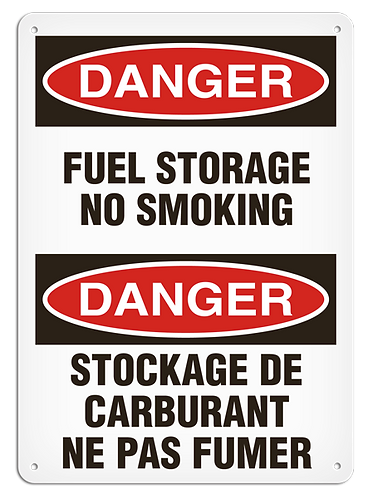 BILINGUAL DANGER - Fuel Storage No Smoking