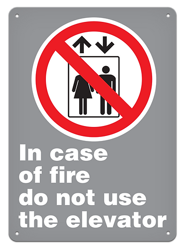 PROHIBITION - In Case Of Fire Do Not Use The Elevator