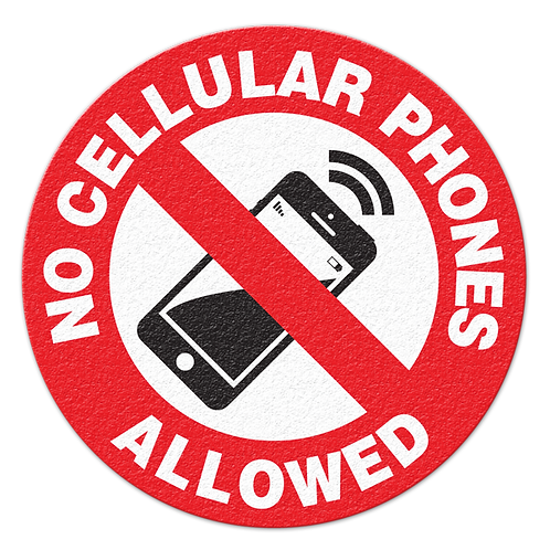 No Cellular Phones Floor Sign