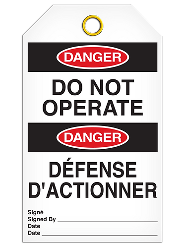 Bilingual DANGER - DO NOT OPERATE