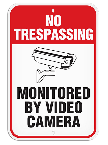 PARKING LOT SIGN - No Trespassing Monitored By Video Camera