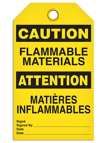 Bilingual CAUTION - FLAMMABLE MATERIALS