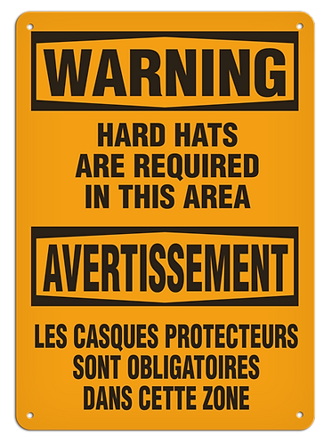 BILINGUAL WARNING - Hard Hats Are Required In This Area