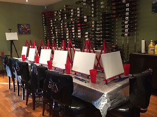 Learn how to paint on canvas every Saturday at 1:00 P.M. and enjoy happy hour while you paint!