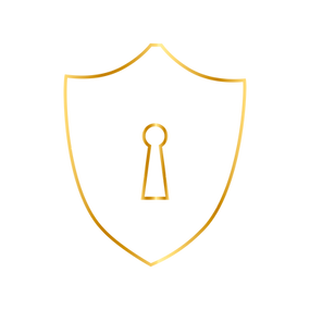 a shield with a keyhole in the middle