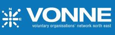 The words 'Volunytary Organisations Network North East' below the acronym VONNE sit next to a compass shape with the N and E labelled.