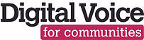 the words 'digital voice' over the words 'for communities' in a pink box