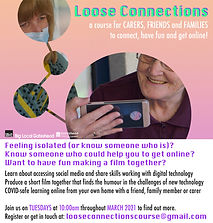Image of older woman looking at phone with dots connecting her to another woman-text describing course below