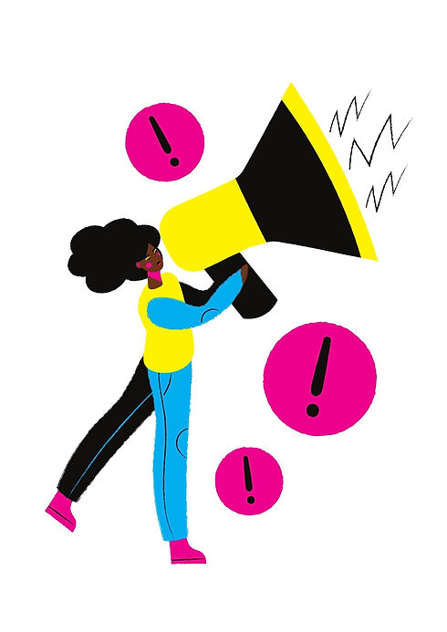 Woman holds up megaphone with exclamation marks around her