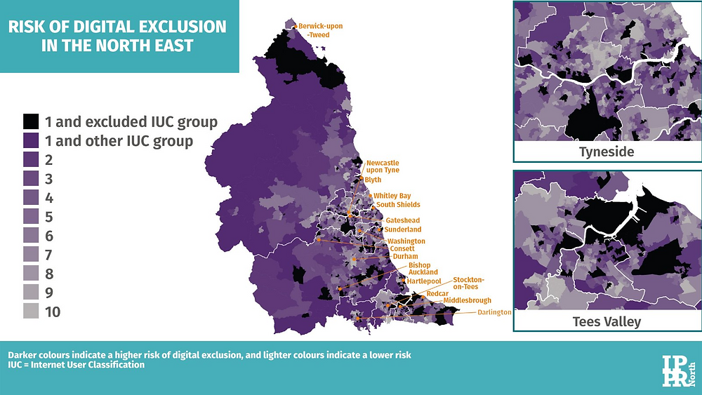 A map of North East England displaying areas at risk of digital exclusion. Areas of highest risk include rural Gateshead, North East Northumberland and substantial sections of Teesside.