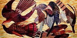 Aubusson Birds/Giclée/Canvas Painting/Reproduction