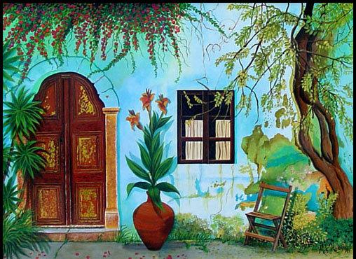 Villa Grecque/ Giclée/Canvas Painting/Reproduction