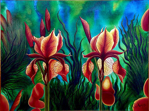 Gold Irises/Canvas/ Painting/ Large canvas/ Reproduction