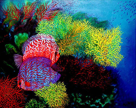 Discus and Corals/Painting/Giclée