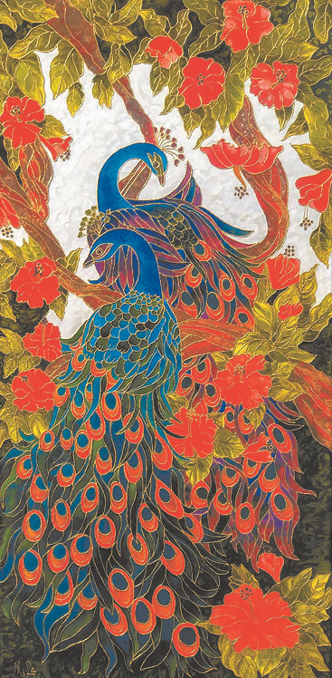 Peacocks Delight/Peacock Art/Giclée print/Reproduction