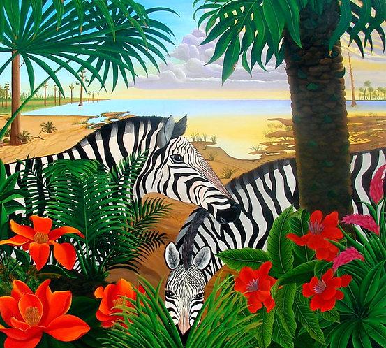 Zebras/Canvas Painting/ Giclée/Reproduc