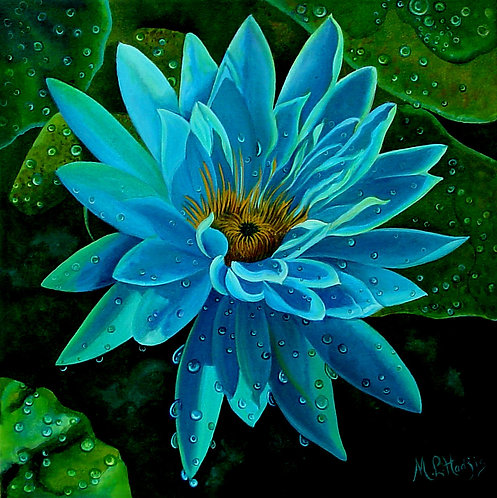 Blue Nenuphar/Canvas Painting/ Giclée/Reproduction