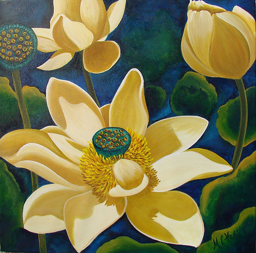 Lady Lotus/Canvas Painting/ Giclée/Reproduc