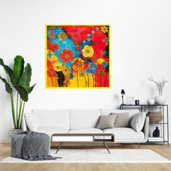 Flower Power-30x30-Framed-Stained-glass