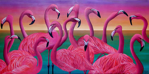 Pink Flamingos/Giclée/Canvas Painting/Reproduction