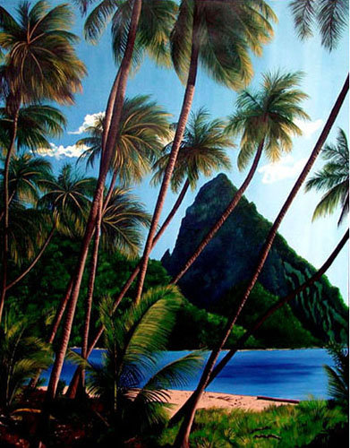 Hawaii Coconuts/ Painting/ Large canvas/ Reproduction